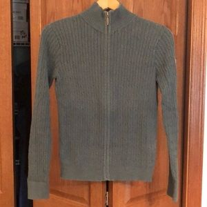 Eddie Bauer aqua zip up cable knit sweater